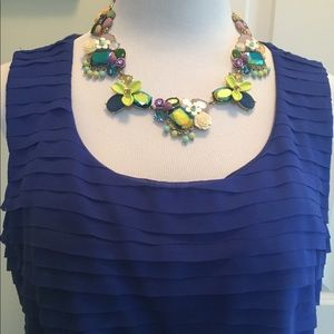 "Chicos size ""3"" royal blue ruffle tee"